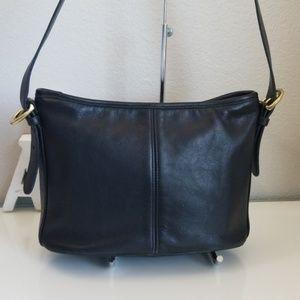 Vintage Coach Black Smooth Leather Shoulder Bag